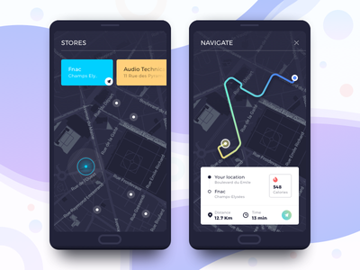 Store Locator gradient app clean card flat map menu mobile navigation minimal colors ui ux ios app