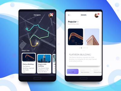 Discover City app card clean flat map menu mobile navigation minimal colors ui ux ios app