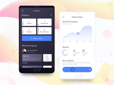 Progress App flat minimal navigation colors clean task ui ux statistics graph dashboard chart analytics