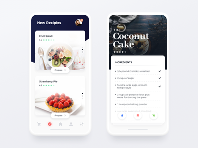 Recipes App app card clean flat ingredients menu mobile navigation minimal food ui ux ios app