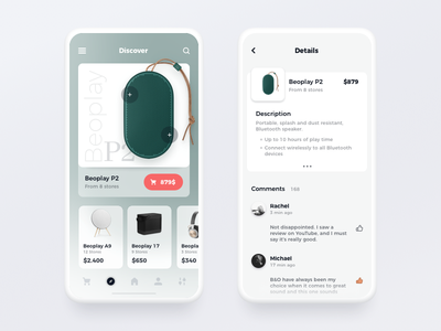 Product Finder app card clean flat product menu mobile navigation minimal comments ui ux ios app