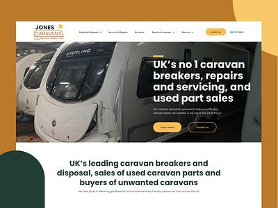 Jones Caravans - landing page caravan graphic design logo design web design ux website ui