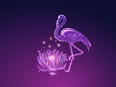 Flamingo and lotus at night web vector design illustration glow in the dark purple wireframe design lowpolyart low poly lotus flower flamingo
