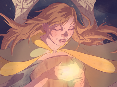 In the Temple (detail shadow redhead freckles character design glow light night blue orange magic fantasy character illustration procreate