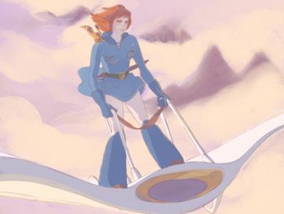 Nausicaä procreateapp magic shadow girl glider flying clouds fantasy illustration procreate studio ghibli ghibli nausicaä