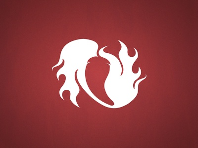 Hot Pepper jalapeno fire logo red white hot pepper spicy flames chili pepper