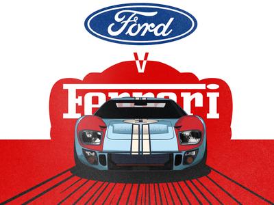 Ford v Ferrari retro poster