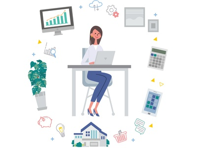 Illustration of business image with laptop computer and woman