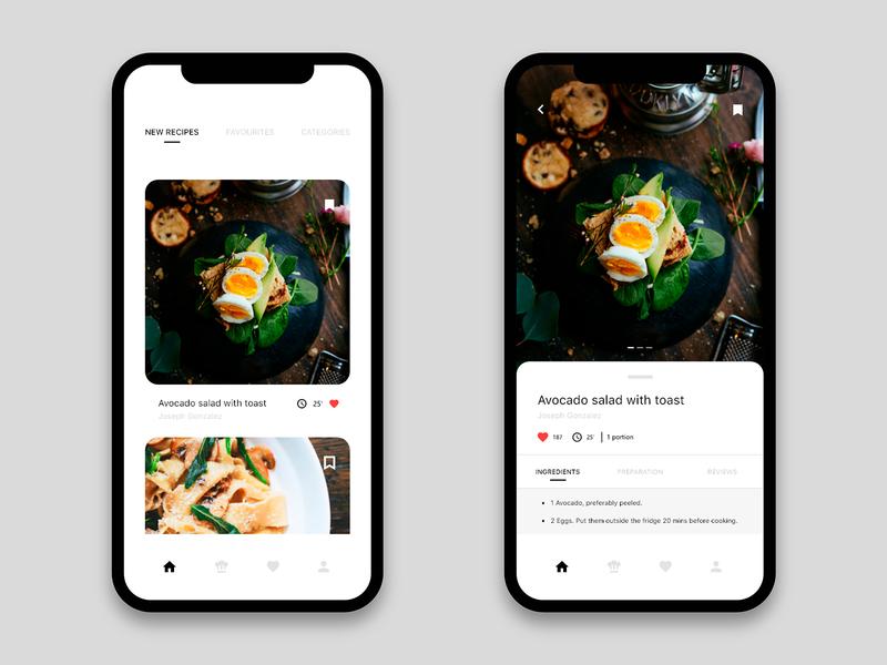 Mobile app - Recipes app. foodapp food app 2020 trend adobexd restaurant iosapp ios ux design uxdesign ux  ui uxui ux recipes app ui design uidesign ui  ux uiux food ui recipes