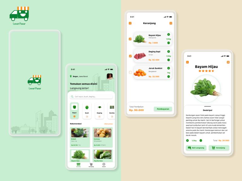 Lewat Pasar Grocery Store mobile app design mobile design mobile ui ux design ui design ui ux design illustration