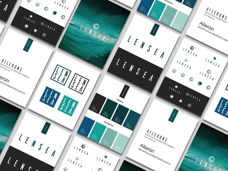 Lensea Style Guide artwork vector print logo identity branding illustration typography art direction branding design