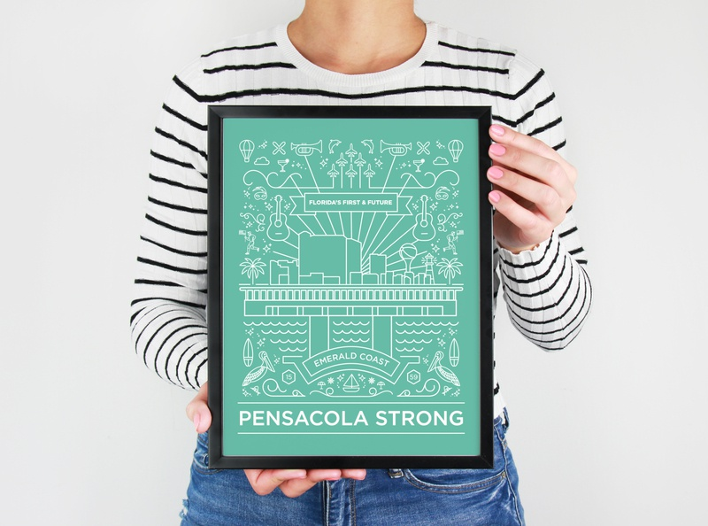 Pensacola Strong Illustration print graphic design poster design vector donation nonprofit merchandise poster illustration design