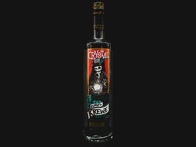 Esprit de Krewe Crystal Rum artwork branding art direction mardi gras southern nola skeleton alcohol vector design illustration