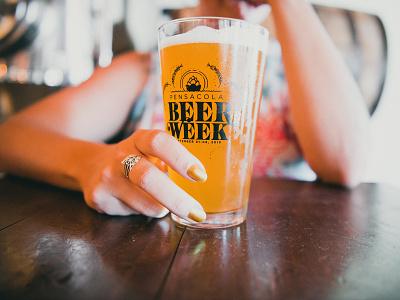 Pensacola Beer Week Glass 2019 typography illustration design