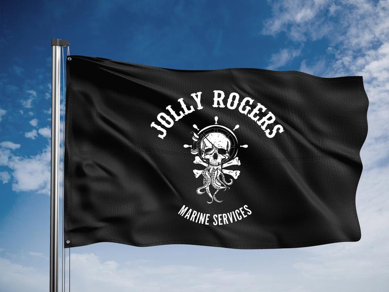 Jolly Rogers Marine Services Flag logo identity branding illustration art direction typography branding design