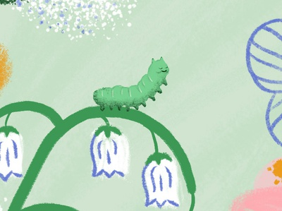 Mother's Day card detail lily of the valley floral green texture caterpillar design illustration fun