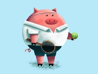 Tennis Pig threadless procreate personal project illustration