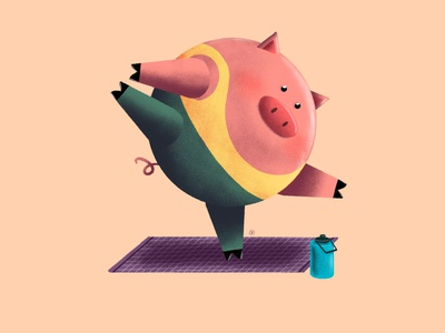 Yoga Pig illustration procreate personal project piggy pig yoga