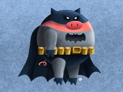 BATPIG ipadpro batpig batman pig procreate personal project illustration