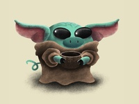 Baby Yoda Pig personal project illustration procreate ipadpro cute art the mandalorian star wars the child baby yoda