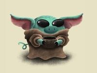 Baby Yoda Pig personal project illustration procreate ipadpro cute art the mandalorian star wars the child baby yoda