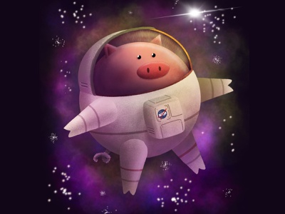 Space Pig cosmic pig procreate personal project illustration astronaut space