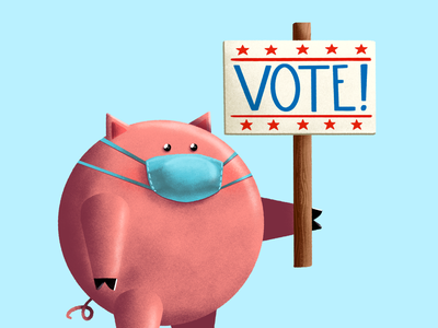 Vote like a Pig! pig voting vote procreate personal project illustration