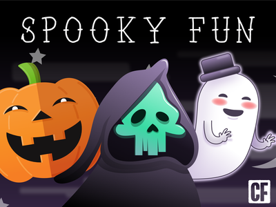 Spooky Fun project buttons shirts illustration silly cute forest ghost scary dark moonlight skull halloween design pumpkin trick or treat reaper halloween spooky affinity designer