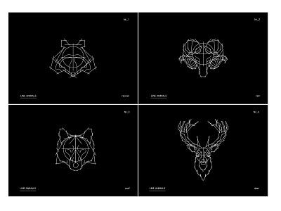 LINE ANIMALS full series line animals deer wolf ram racoon series reduced lines sketch animal illustration adobe illustrator