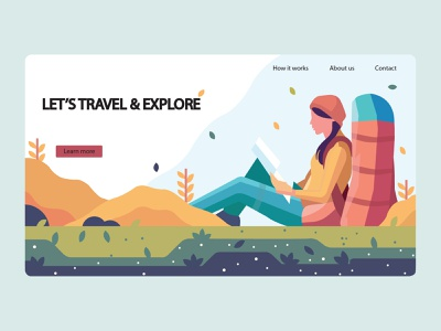 Lets Travel & experience vector hill art branding 2020 web illustration learn experience explore travel adobe photoshop adobe illustrator
