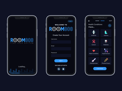ROOM808: Part 1 - Onboarding music logo onboarding fitness app dark mode branding design mobile ui
