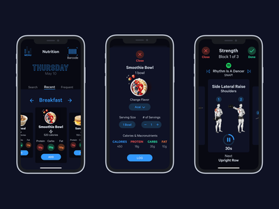 ROOM808: Part 2 - Nutrition & Workout ui music mobile logo fitness app design dark mode branding