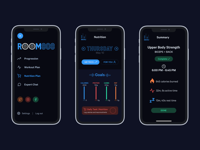 ROOM808: Part 3 - Menu, Goals, Workout Summary ui music mobile logo fitness app design dark mode branding