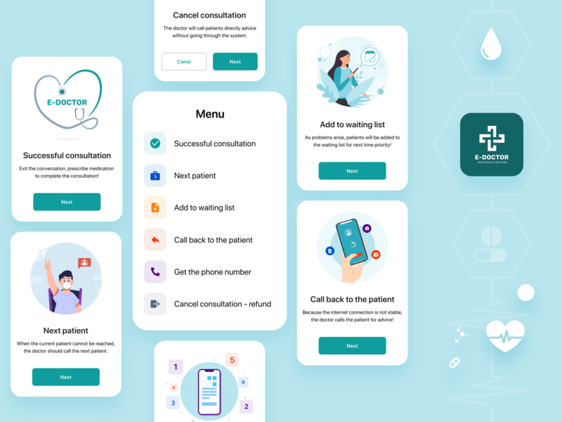 E - DOCTOR | Interface Elements application ui design mobile doctor app mobile app design medical ui ux design interface interaction design product design