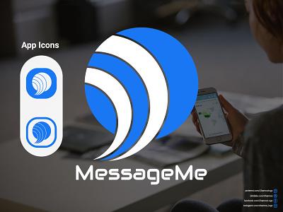 Messenger App Icon and logo (Message me) branding logo