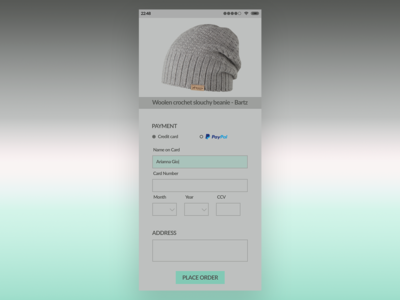 Daily UI Challenge :: Day 2 - Credit Card Checkout page
