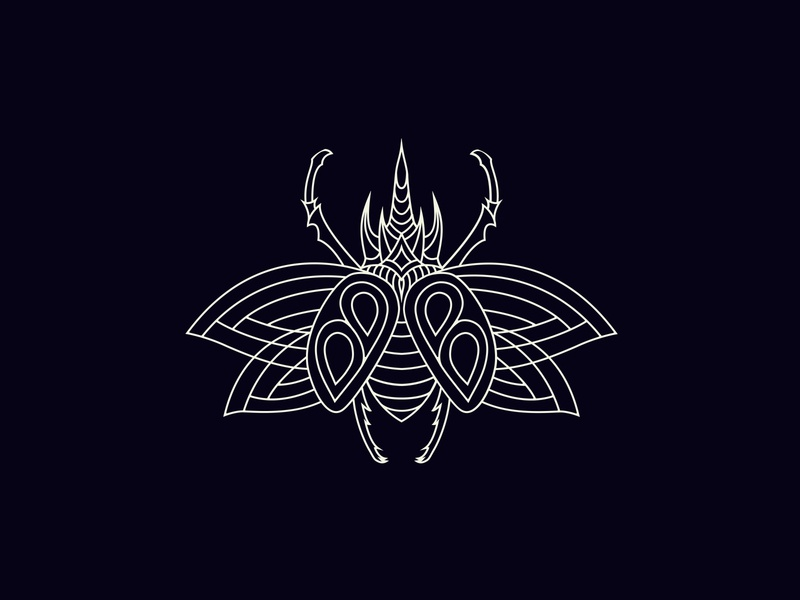 Scarab Line Illustration for Bug Bounty badge tshirt modern logo logo lineart vector graphic insect bug