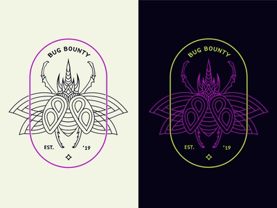 Badge Logo for Bug Bounty lineart graphic code branding brand design vector tshirt logo insect badge