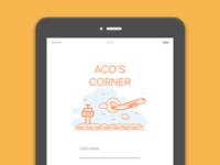Aco's corner Login Page v1 - an Ipad app