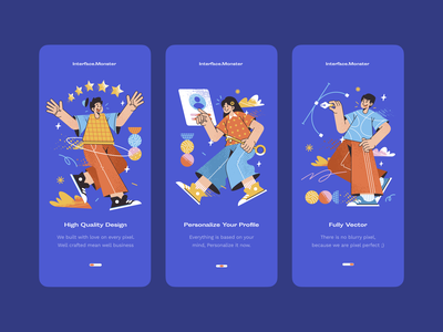 Interface Monster • Onboarding Design ux ui uiuix ui ux design onboarding illustration onboarding screen onboarding ui onboarding mobile app onboarding mobile app design app design illustration pattern geometric character flat vector interface morva