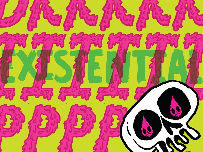 Existential Drrriiippp Color #1 typography hand lettering illustration coffee skull