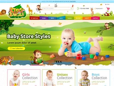 Kids Jungle: kids clothing, gear, and accessories store landing page design social media marketing digital marketing webdesign ecommerce business ecommerce website design shopify clothes clothing kids fashion baby shower kids ecommerce design ecommerce fashion website concept web site design web store web design website