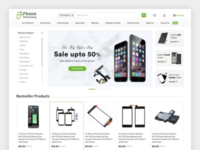 Phone Pharmacy: Phone accessories and spare parts online store ecommerce shop brand landing page design seo social media marketing shopify ecommerce website lcd accessories mobile pharmacy phone ecommerce website design ecommerce design ecommerce website design webdesign web