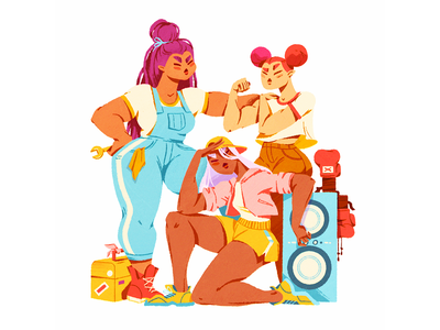 Squad character maxpacks girl gang squad design procreate illustration character design