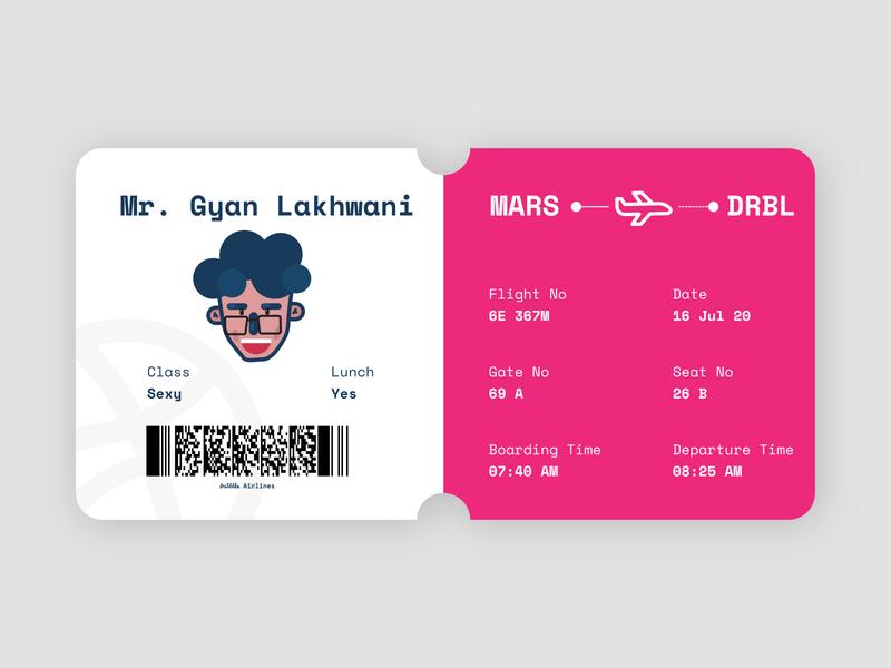 Dribble Boarding Pass boarding pass illustrator vector visual design minimal flat branding design illustration