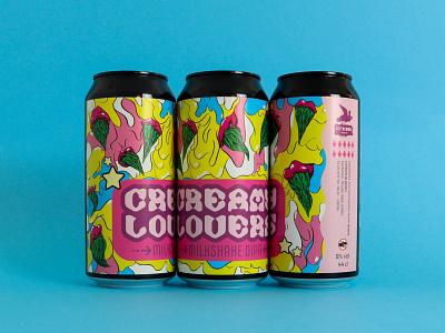 CREAMY LOVERS craft beer illustrator concept graphic design brandidentity brandig label shooting typography type custom type procreate packaging illustration typeface brewery beer can beer label beer branding beer