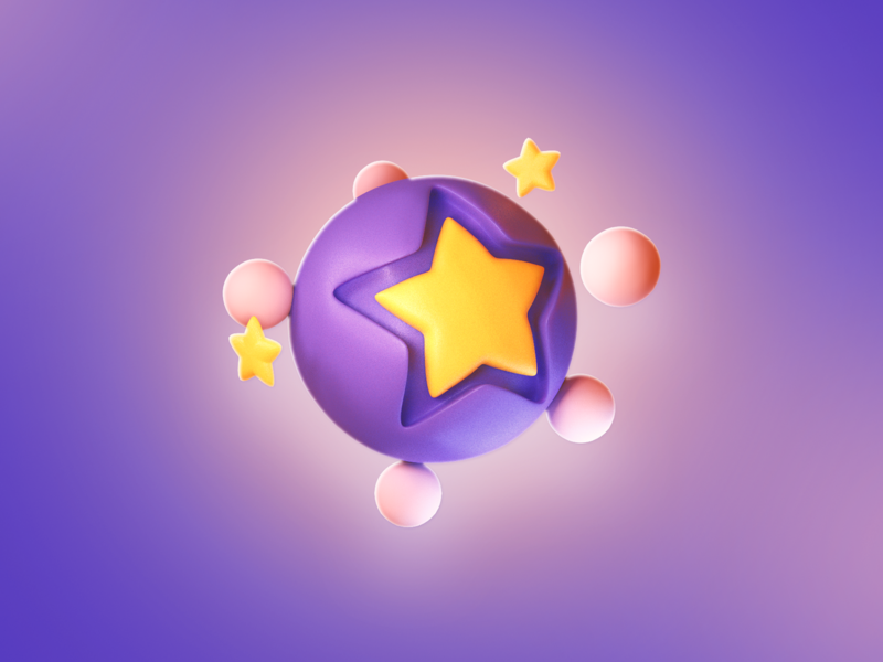 Euromillion purple stars star gradient icon art 3d icon branding illustration logo