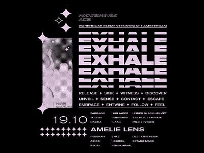 EXHALE tshirt music techno screenprint rave poster design design poster illustration acid