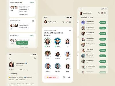 Clubhouse App Redesign download free minimal populer green apple 2021 uxui ios 2020 flat minimalist app shot figma dribbble design ui