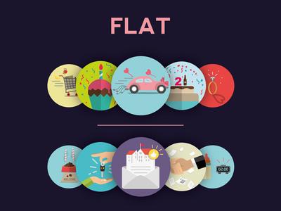Icon illustrations (Flat)